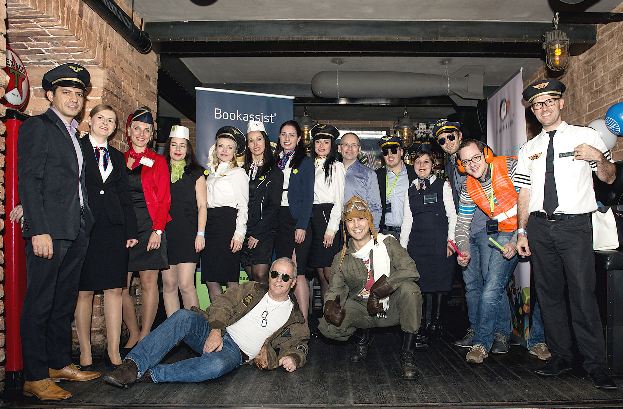 The Prague and Vienna teams, taking the aviation theme of the party very seriously.