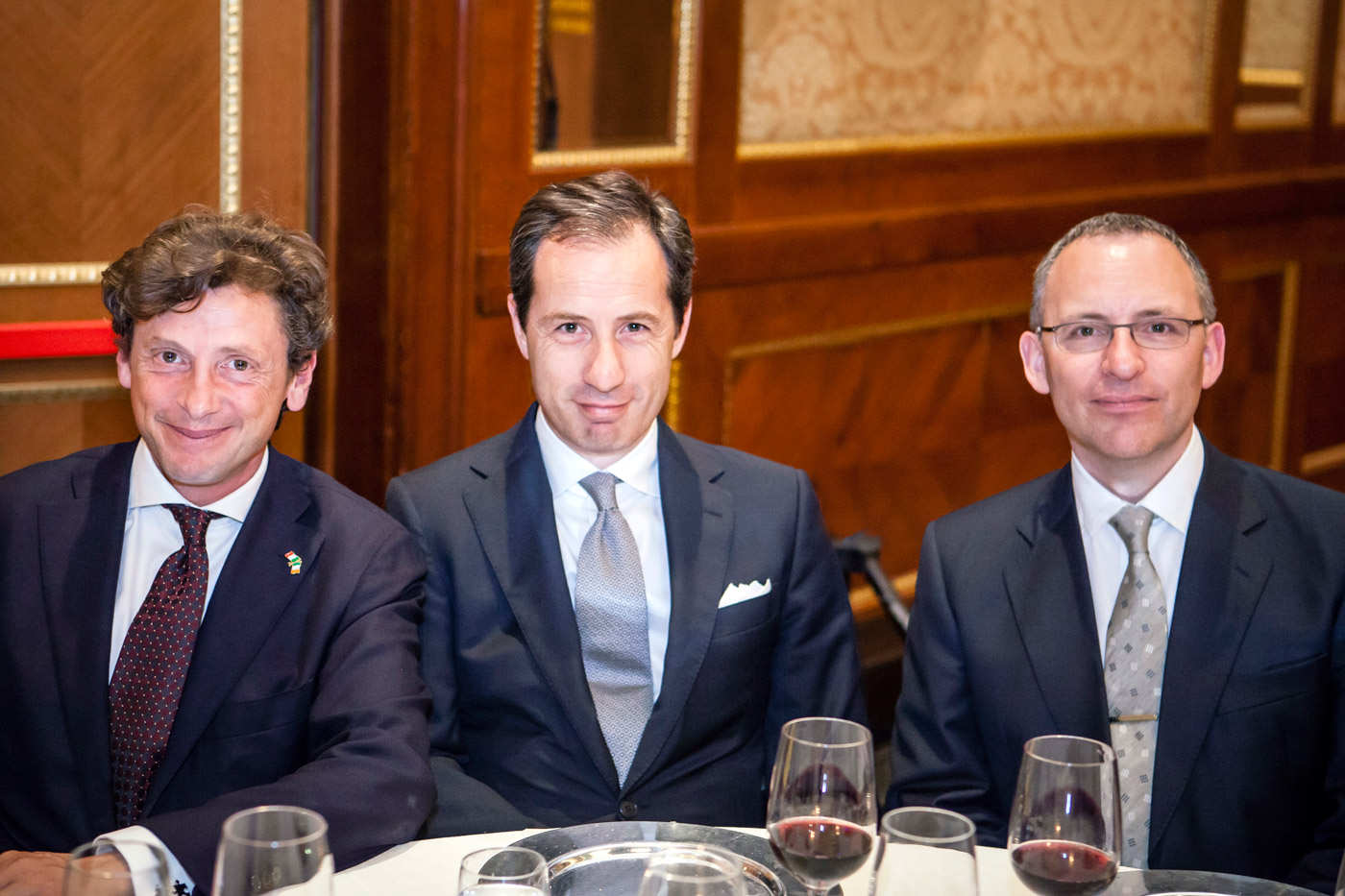 Alberto Recanatesi (Operations Manager for Bookassist Italia), Atonelli Buono (General Manager Monrif Hotels), Des O'Mahony (CEO Bookassist) at the Presidential Dinner in Milan, June 15th