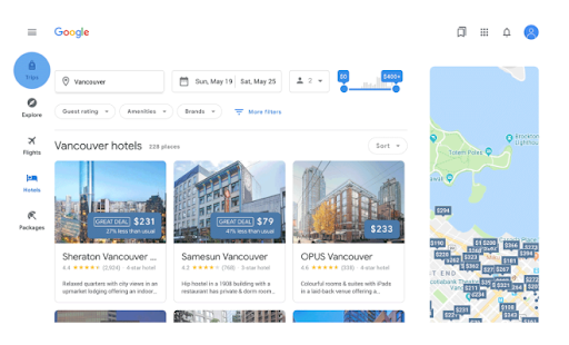 Google Travel Portal preview