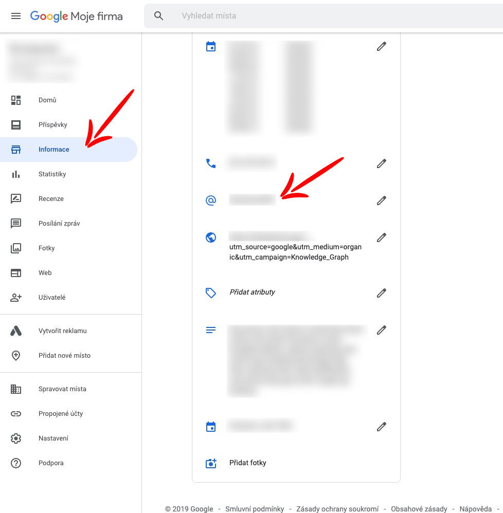 google my business admin menu preview