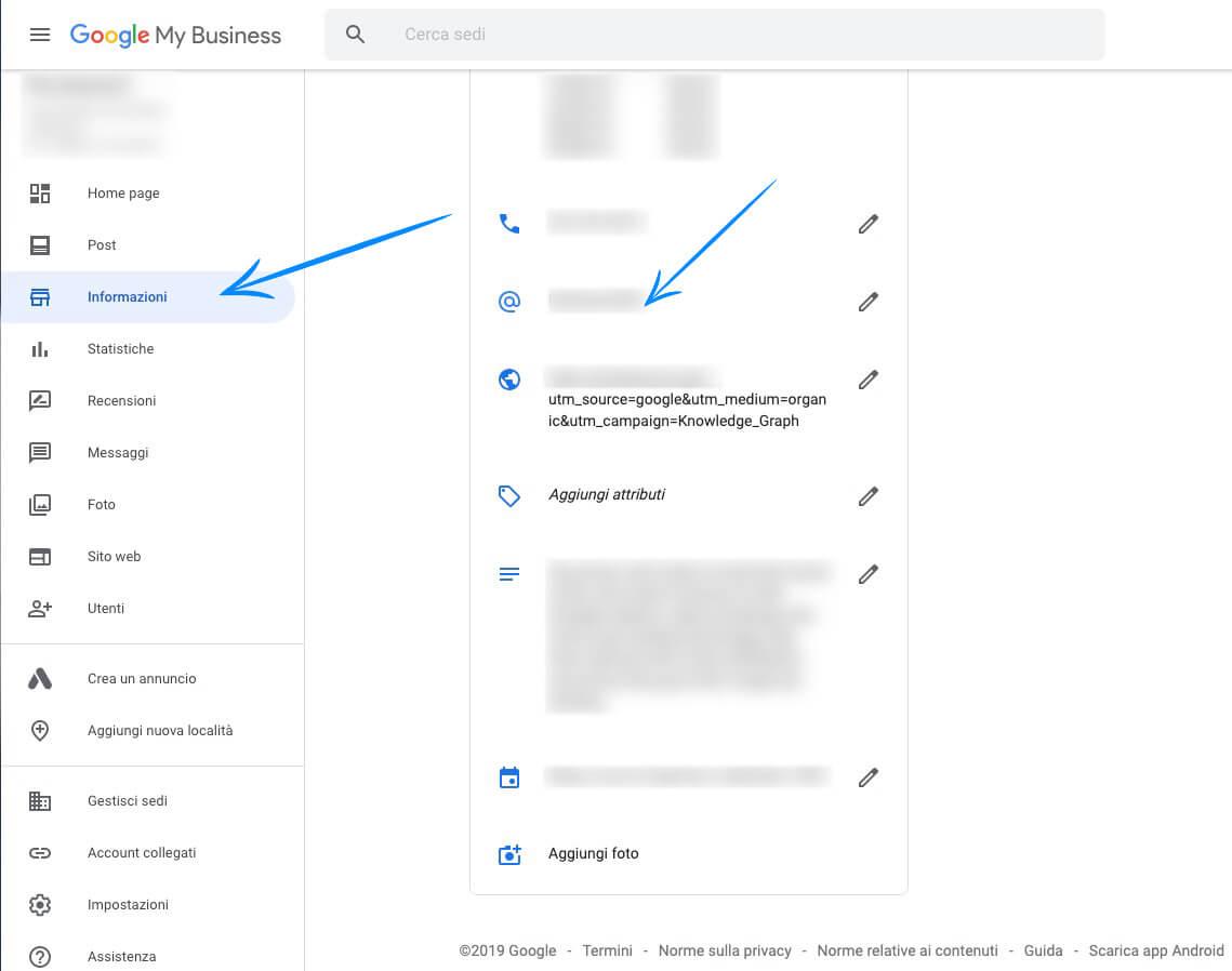 google my business admin menu preview