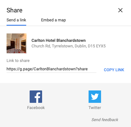 google my business share link preview