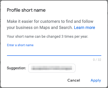 google my business profile short name creation preview