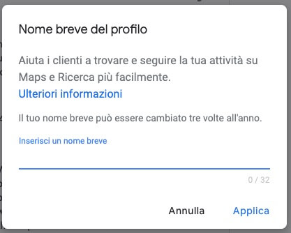 google my business profile short name preview