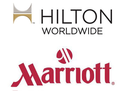 Hilton and Marriott hotel chain logos