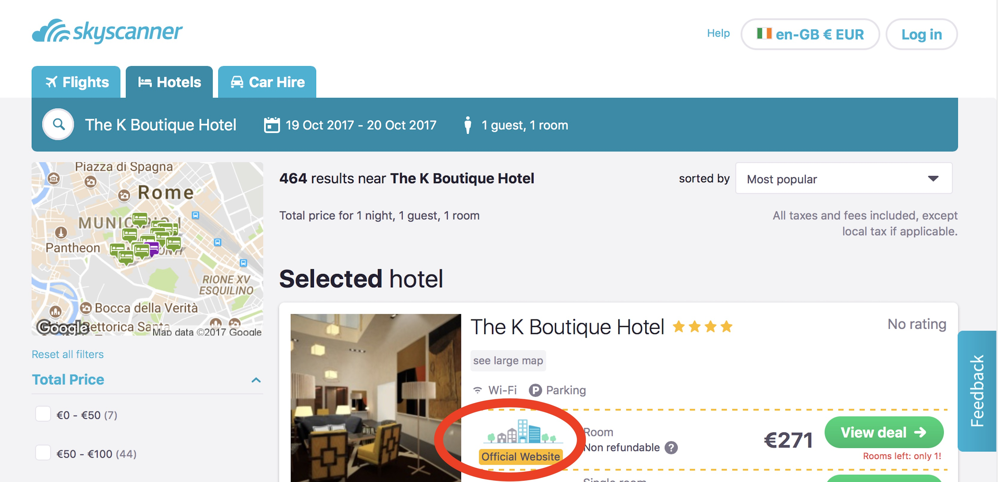 Rome's K Boutique Hotel offical website link on SkyScanner